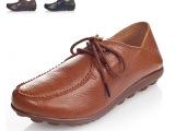 订单批发新款外贸原单大码休闲真皮女式平底女鞋单鞋妈妈鞋N06-6