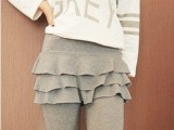 新款时尚假两件打底裤 裤裙 三层荷叶边修身九分裤 裙裤 义乌批发