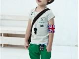 童装代理 2014年韩版男童小猫咪套装小男孩休闲l两件套 一件代