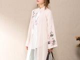 2015 秋装新款 棉麻中国风汉服女式开衫 手绘风衣女长款女外套