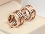 大牌18K玫瑰金弹簧情侣戒指 时尚韩版钛钢男女指环批发不褪色首饰