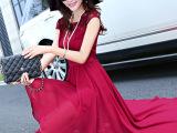 欧洲站女装夏季蕾丝雪纺无袖连衣裙波西米亚仙女裙夏装长裙批发