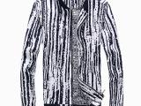 1820免费代理代发 2014秋冬新款 韩版条纹立领拼色男式夹克