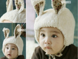 2014 秋冬韩版卡通儿童兔耳朵毛绒帽子 宝宝保暖护耳帽子批发