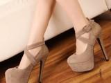 外贸欧美单鞋超高跟厚底夜店裸色百搭女鞋