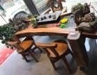 香樟木流水茶台厂家直销布景老石板茶桌创意原生态茶桌