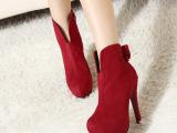 2013 春季新款 韩版V型蝴蝶结高跟细跟防水台短靴 女靴女鞋