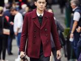 2014冬季新款欧美大牌街拍潮流男士纯色双排扣呢大衣风衣外套批发