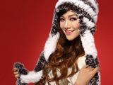 秋冬季新款皮草帽子獭兔毛帽子大护耳帽保暖女帽流苏帽编织帽子