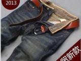 2013春夏新款复古直筒牛仔裤 破洞猫须牛仔长裤男 薄款牛仔裤批