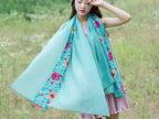 秋冬新款女民族风棉麻刺绣花朵纯色长款围巾