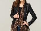 2014新款欧美修身机车皮衣拼接豹纹围巾女士短款外套皮夹克