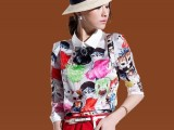 2014新款春装韩版女装娃娃领印花衬衣 打底衬衫