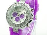 现货供应日内瓦双排钻手表 geneva镶钻手表 12种颜色当日发