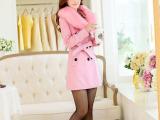 厂家直销2015秋冬新款韩版毛领羊毛大衣修身女式毛呢风衣外套批发