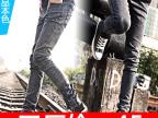 [小脚裤8189]韩版潮男春装黑灰色男士修身牛仔裤小脚休闲裤子男裤