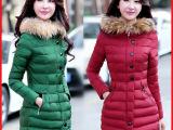 2014新款女装修身真毛领中长款女棉衣冬装加厚外套女式羽绒棉服