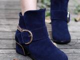 厂家直销 新款女靴春秋新款真皮女靴单靴批发 中粗跟靴子平底短靴