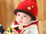 秋冬款儿童帽子宝宝套帽0婴儿-1男3岁女宝宝套头帽童小孩2两件套