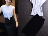 2014新款韩版夏女 周迅明星同款白色衬衫+包臀半身裙两件套装