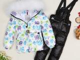 2015欧洲站冬装童装儿童宝宝羽绒服套装女中大童儿童狐狸毛滑雪服