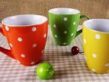 波西米亚风格 500ml外色内白圆点礼品鼓形杯 外贸陶瓷马克杯