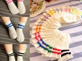 童趣 儿童袜子批发 薄棉童袜 韩国可爱百搭双杠两条杠纯棉短袜