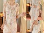 2014夏装新款雪纺衫中袖圆领蕾丝衫中长款打底衫女
