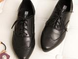 JEFF欧美英伦女鞋平底真皮女鞋厂家直供复古女雕花女士低跟尖头