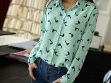 2014春装新款衬衫韩版休闲简约小鸟动物印花长袖雪纺衬衫女衬衣潮
