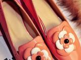 款欧秋美甜美女鞋批发花朵休闲进口磨砂牛筋底低跟平底 真皮单鞋