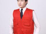 上海广告马甲订制 定做防水促销马夹 红色涤棉帆布工作服绣印log