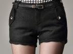 YIMU艺目-实拍 2014甜美百搭中腰修身波浪边羊毛呢短裤显瘦靴裤女