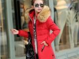 2015冬装新款女式棉袄韩版修身大毛领羽绒棉服中长款棉衣外套批发