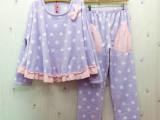 2014秋冬女士花边睡衣 波点法兰绒蝙蝠款时尚居家服套装系列