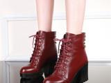 批发厂家直销冬季新款真皮牛皮粗跟高跟铆钉交叉绑带女短靴马丁靴