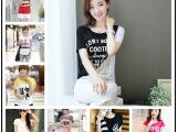 外贸尾货女装 韩版女短袖女t恤打底衫 地摊货源印花T恤服装批发