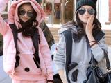 2014韩版带帽 卫衣抓绒加厚熊猫卡通女式休闲套装 秋冬卫衣三件