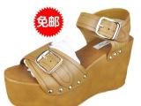 厂家批发东莞外贸女鞋清仓 女士牛皮坡跟欧美原单凉鞋 真皮女凉鞋