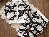 韩版童装2014春小香印花双C儿童男女童休闲长袖长裤运动套装2件