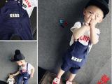 一件代发童装批发厂家直销夏季新小童宝宝字母纯棉短袖背带裤套装