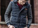 OLRIK秋冬新品男装外套 品牌连帽加厚男式棉衣拼接时尚男士上衣