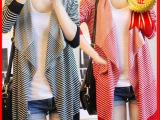 厂家直销秋冬新款女装批发宽松黑白条纹不规则长袖棉开衫女外套-5