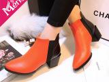 欧美大牌同款 秋冬时尚潮流拼色马丁靴 40码尖头粗跟短靴真皮女靴