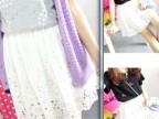 2014韩国订单同款棉麻镂空钩花荷叶边超显瘦高腰半身裙 短裙