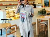 2014春夏新款 韩版女装长款宽松字母连衣裙短袖T恤 女