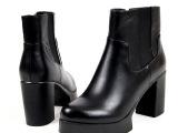 2014新款欧美短靴防水台马丁黑色女靴子真皮牛皮粗高跟厚底休闲靴