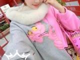 韩版最新卡通动漫贴布刺绣粉红豹撞色拼接宽松中长款卫衣4517