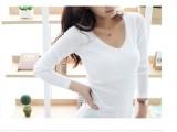 2014秋修身体恤紧身女T恤V领打底衫纯棉纯白色长袖直销一件代发