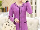 2015春秋针织衫妈妈装羊绒外套女 新款纯色韩版羊毛衫女式毛衣